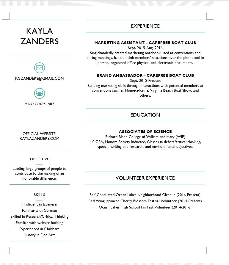 résumé honors program kayla zanders